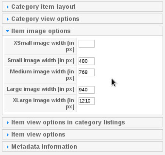 Responsive Image Category Settings