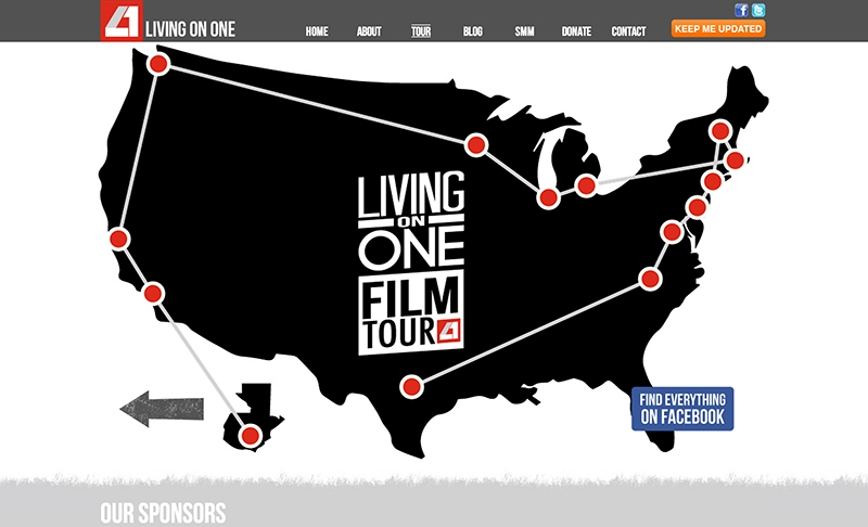 <p>We again had some fun with jQuery and though this is hosted externally on the Living On One website, we wanted to share it. Make sure to click on the &#8220;TOUR DATES&#8221; button! &nbsp;</p>
